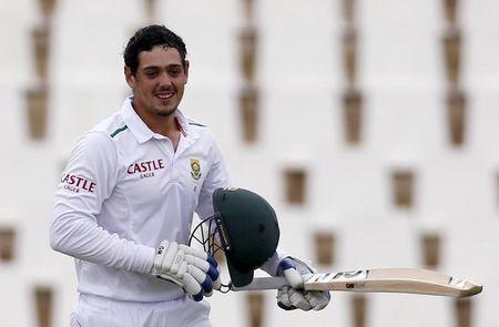 South Africa's Quinton de Kock celebrates his century during the fourth cricket test match against England in Centurion