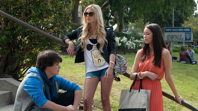 """This publicity image released by A24 Films shows, from left, Israel Broussard, Claire Vivien and Katie Chang in a scene from """"The Bling Ring."""" (AP Photo/A24 Films, Merrick Morton)"""