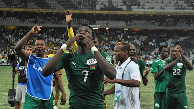 Burkina Faso celebrate beating Ghana in the African Cup of Nations semi-finals.