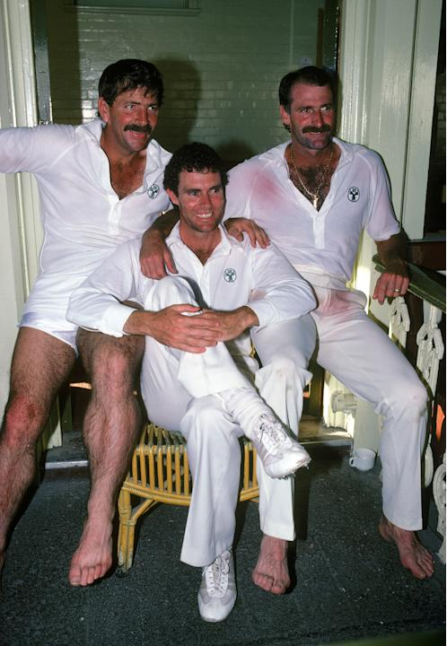 Dennis Lillee with Rodney Marsh and Greg Chappell of Australia posing for the camera