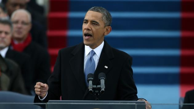 President Barack Obama speaks after being sworn in during the presidential inauguration on the West Front of the U.S. Capitol January 21, 2013 in Washington, DC -- Getty Images