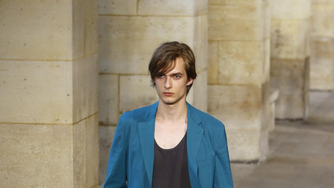 A model wears a creation by French fashion designer Veronique Nichanian as part of Hermes men's fashion Spring-Summer 2014 collection, presented Saturday, June 29, 2013 in Paris. (AP Photo/Francois Mori)