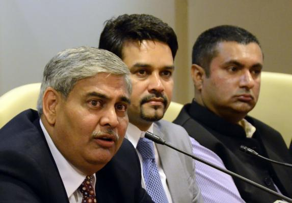 Mumbai: BCCI secretary Anurag Thakur and Shashank Manohar during the Special General Meeting (SGM) of the Board of Control for Cricket in India (BCCI) where later was elected the new president of the