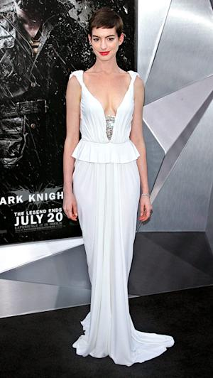Pin-Thin Anne Hathaway Wears Plunging White Gown at Dark Knight Rises Premiere
