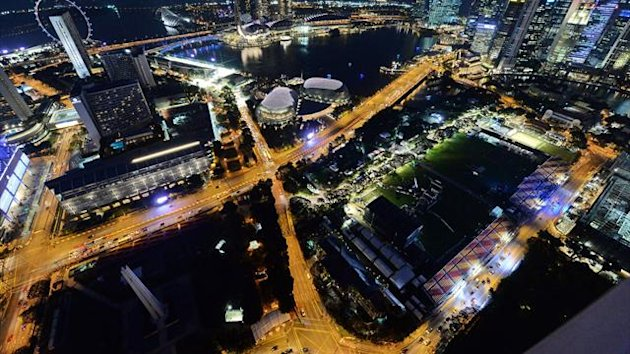 An aerial shot of the Singapore track ahead of the Formula One night race (AFP)