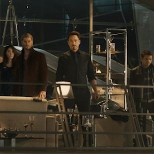 "This photo provided by Disney/Marvel shows from left, Cobie Smulders as  Maria Hill, Chris Evans as Steve Rogers/Captain America, Don Cheadle as James ""Rhodey"" Rhodes/War Machine, Claudia Kim as  Dr. Cho,  Chris Hemsworth as Thor, Robert Downey Jr. as Tony Stark/Iron Man, Jeremy Renner as Clint Barton/Hawkeye, Mark Ruffalo as Bruce Banner/Hulk, and Scarlett Johansson as Natasha Romanoff/Black Widow, in a scene from the new film, ""Avengers: Age Of Ultron."" ""Avengers: Age of Ultron"" debuted with a Hulk-sized $27.6 million in Thursday night showings, well above the pace of the first ""Avengers"" film. Disney said Friday that the opening night haul of ""Age of Ultron"" easily surpassed the $18.7 million first night opening of ""The Avengers"" in 2012.  (Film Frame/Disney/Marvel via AP)"