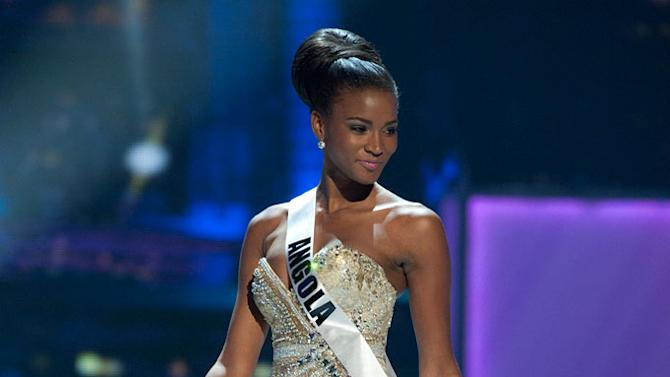 """Miss Angola 2011, Leila Lopes competes in her choice evening gown, as one of the top 10 contestants, during the """"60th Annual Miss Universe"""" presentation show from São Paulo, Brazil."""