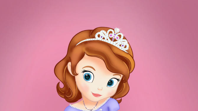 "This undated publicity photo released by Disney Junior, shows the character Princess Sofia who stars in a TV movie titled ""Sofia the First: Once Upon a Princess,"" airing Nov. 18, 2012 on the Disney Channel. Disney said Friday, Oct. 19, 2012, that Sofia is ""mixed-heritage princess in a fairy-tale world."" Her mother is from a Spain-inspired kingdom, and her birth father is from a realm inspired by Scandinavia. (AP Photo/Disney Junior)"