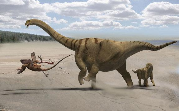 Plant-eating dinosaurs like this mother Brontomerus and her baby were born giants, say scientists who found dinosaurs skewed more toward giant species than modern creatures.