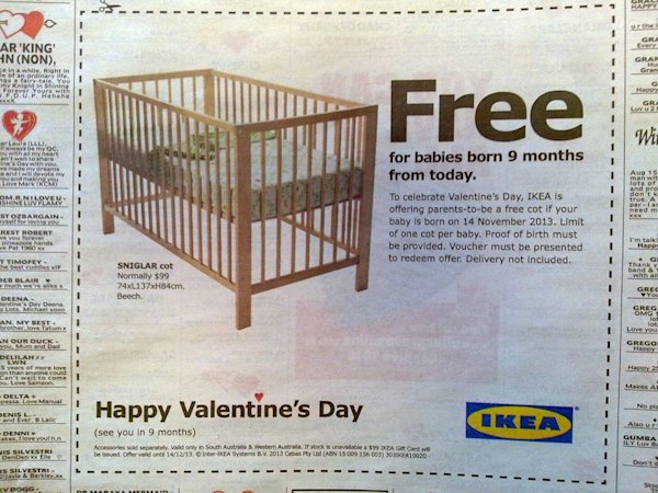 This ad was featured in an Australian paper offering a free crib to babies born nine months from now. (Redditt)