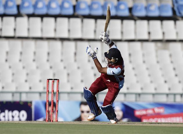 KC Sangakkara in action during the Champions League T20, 3rd Match between Kandurata Maroons and Otago Volts at Mohali stadium, Chandigarh on Sept. 18, 2013. (Photo: IANS)
