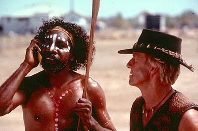 David Ngoombujarra as Arthur and Paul Hogan as Mick Dundee in Paramount's Crocodile Dundee In Los Angeles
