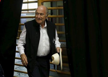 "Blatter arrives for a news conference aside of the so-called ""Sepp Blatter tournament"" in Ulrichen"