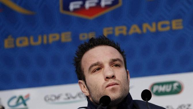France's soccer player Mathieu Valbuena pauses during a press conference, at Clairefontaine training center, south of Paris, Sunday, Nov. 17, 2013. Ukraine stunned France with two second-half goals on Friday to win the first leg of their World Cup playoff 2-0 and put the heavily favored French in real danger of missing next year's tournament