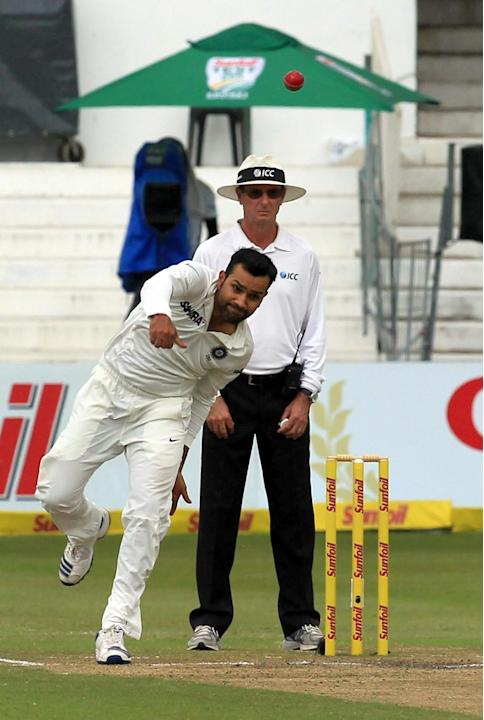 Indian bowler Rohit Sharma in action during the 4th Day of the Second Test match between India and South Africa played at Kingsmead stadium in Durban on Dec.29, 2013. (Photo: IANS)