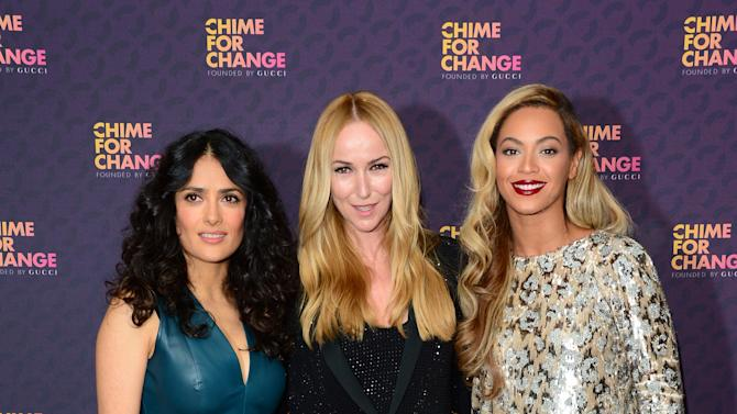 Salma Hayek, Creative Director of Gucci Frida Giannini and Beyonce arrive at The Sound of Change Live at Twickenham Stadium in London on Saturday, June 1st, 2013. (Photo by Jon Furniss/Invision/AP Images)