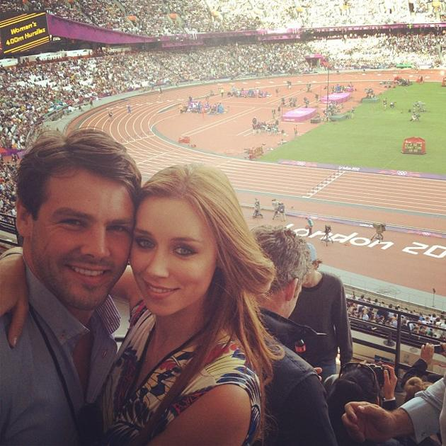 Celebrity Twitpics: The Saturdays' Una Healy and her new husband rugby player Ben Foden attended the Olympics on Sunday, where they watched Usain Bolt race to victory in the mens' 100m. The gorgeous s