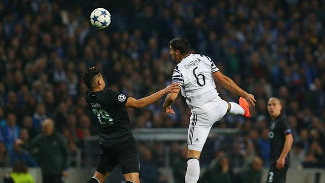 Juventus' Sami Khedira in action with FC Porto's Tiquinho Soares