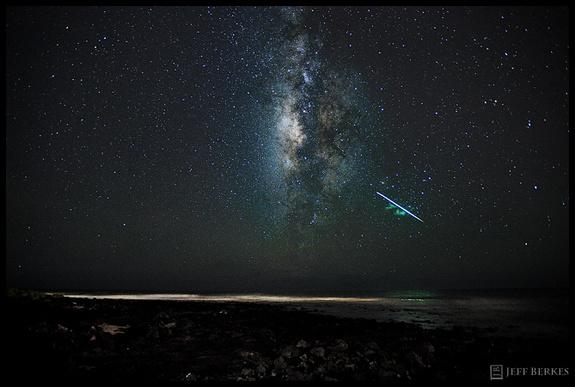 Astrophotographer Jeff Berkes caught this Perseid meteor over the Hawaiian island of Kauai in 2010.