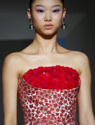 Fashion collection from Oscar de la Renta is modeled during Fashion Week, Monday, Feb. 13, 2017, in New York. (AP Photo/Bebeto Matthews)
