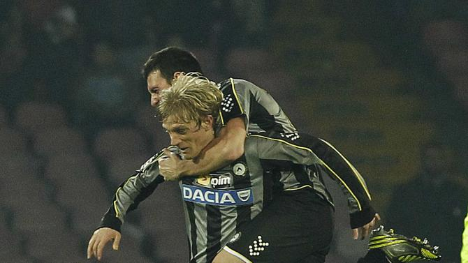 Udinese's Basta celebrates after scoring against Napoli during their Italian Serie A soccer match at San Paolo stadium in Naples