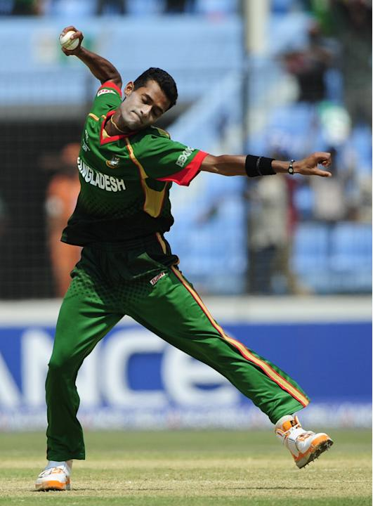 Bangladeshi bowler Shafiul Islam reacts