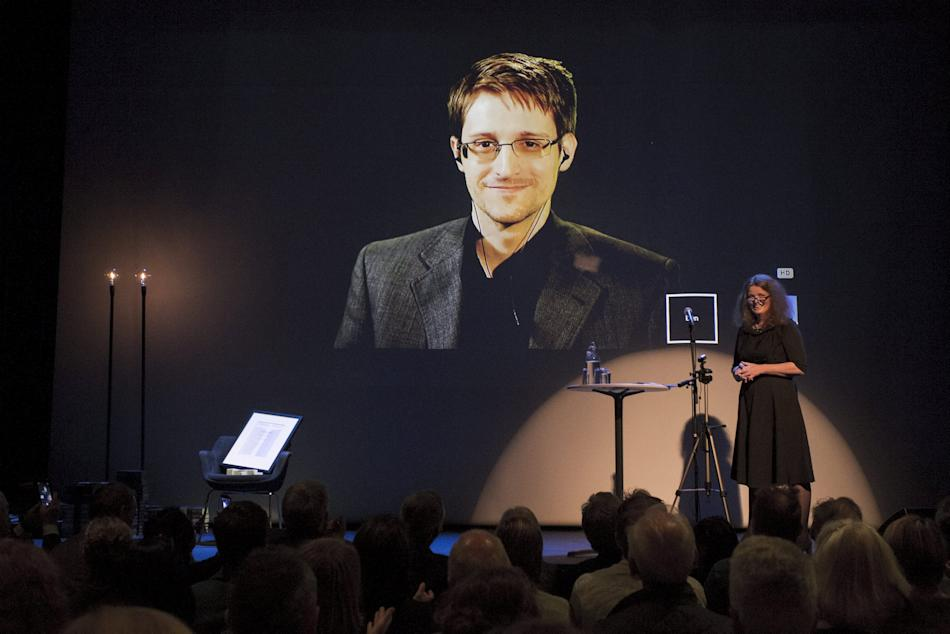 A chair is pictured on stage as Edward Snowden is awarded the Bjornson prize in Molde