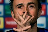 Barcelona coach Luis Enrique takes part in a press conference on the eve of the Champions League last-16 first leg against Paris Saint-Germain, on February 13, 2017