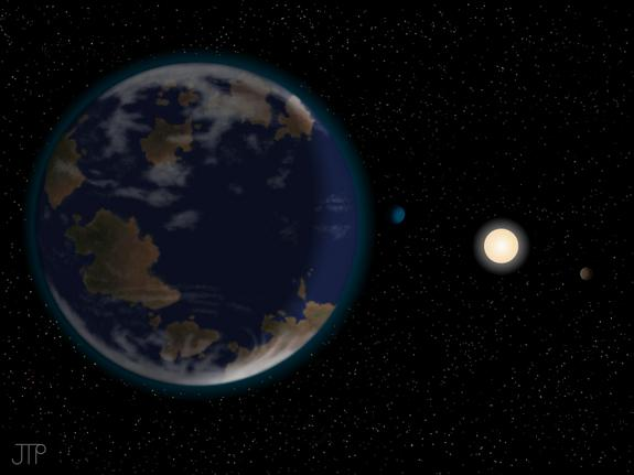 This artist's impression shows the newfoun potentially habitable alien planet HD40307g in the foreground, with its host star and two other worlds in the six-planet system also depicted. The atmosphere and continents shown are neither detected n