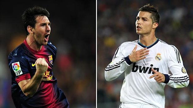 A combination of two pictures taken on October 7, 2012 shows Barcelona's Argentinian forward Lionel Messi (L) and Real Madrid's Portuguese forward Cristiano Ronaldo reacting after scoring a goal during the Spanish League Clasico football match (AFP)