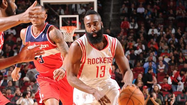 James Harden #13 of the Houston Rockets dribbles up the court against the Washington Wizards (AFP)