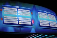 A board shows the draw made for the UEFA Champions League group stage in Monaco