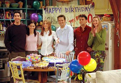 """David Schwimmer, Courteney Cox, Jennifer Aniston, Matthew Perry, Matt LeBlanc and Lisa Kudrow in """"The One Where They All Turn 30"""" in NBC's Friends"""