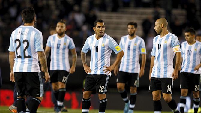 Argentina's players react at the end of their 2018 World Cup qualifying soccer match against Ecuador at the Antonio Vespucio Liberti stadium in Buenos Aires