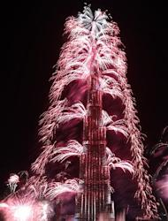 Fireworks explode from the Burj Khalifa, the world's tallest tower, in Dubai on January 1, 2014 to celebrate the New Year