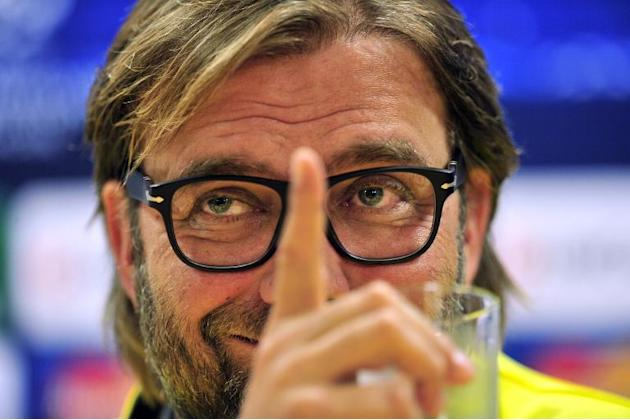 Borussia Dortmund's German head coach Jurgen Klopp attends a press conference at the Emirates Stadium in north London on October 21, 2013, on the eve of his team's UEFA Champions League Group