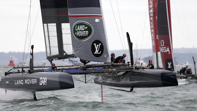 Land Rover BAR in action during the race