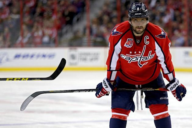 Washington Capitals left wing Alex Ovechkin scored his National Hockey League-leading 50th goal of the season in a 4-2 home victory over the Carolina Hurricanes