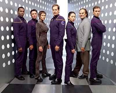 Anthony Montgomery as Ensign Travis Mayweather, Dominic Keating as Lt. Malcolm Reed, Jolene Blalock as Subcommander T'Pol, Scott Bakula as Captain Jonathan Archer, Linda Park as Ensign Hoshi Sato, John Billingsley as Dr. Phlox and Connor Trinneer as Commander Charlie Tucker on UPN's Enterprise Enterprise