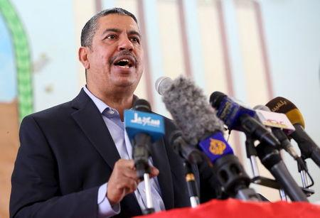 Yemen's Vice President and Prime Minister Khaled Bahah addresses a gathering of local officials after his arrival to the country's northern province of Marib