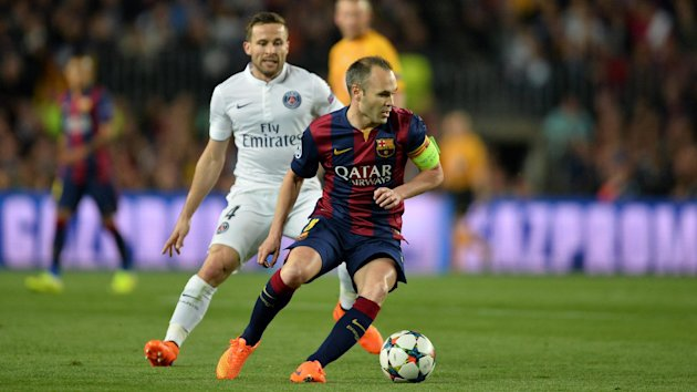 Andres Iniesta in action against PSG.
