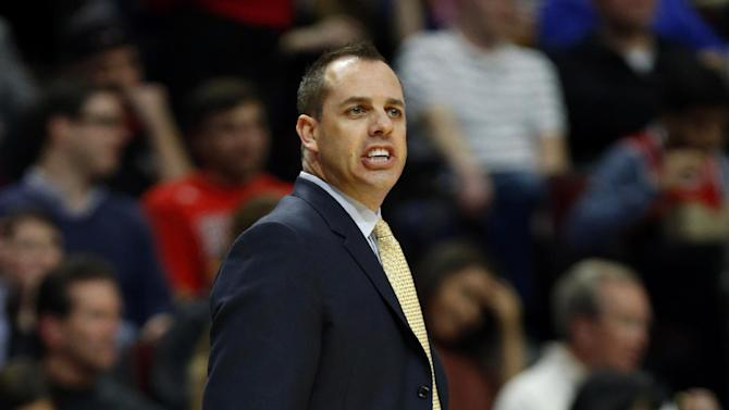Indiana Pacers coach Frank Vogel yells to his team, against the Chicago Bulls during the second half of an NBA basketball game in Chicago, Saturday, Nov. 16, 2013. The Bulls won 110-94