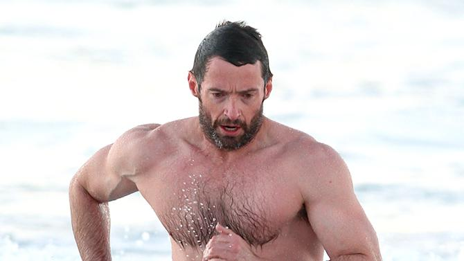 Muscular Huh Jackman shirtless in Bondi, Sydney
