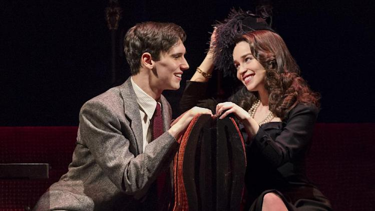 "This theater image released by The O+M Company shows Cory Michael Smith, left, and Emilia Clarke in a scene from ""Breakfast at Tiffany's,"" performing at the Cort Theatre in New York. Producers of the latest stage adaptation of Truman Capote's classic 1958 story ""Breakfast at Tiffany's"" said Monday they will close the show after Sunday's matinee. It will have played 17 preview and 38 regular performances. (AP Photo/The O+M Company, Nathan Johnson Photography)"