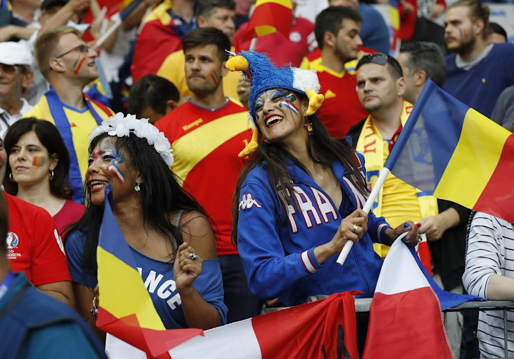 Romania and France fans before the match