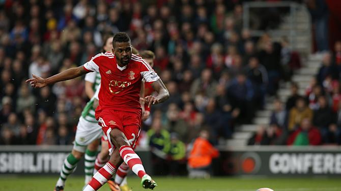 Southampton's Guly Do Prado scores the opening goal of the game from the penalty spot during the FA Cup fourth round soccer match against Yeovil Town at St Mary's, Southampton, England, Saturday, Jan, 25, 2014