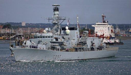 Britain's HMS Westminster leaves for Gibraltar from Portsmouth on August 13, 2013