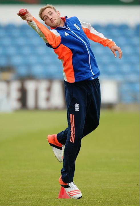 Cricket: England's Stuart Broad during training