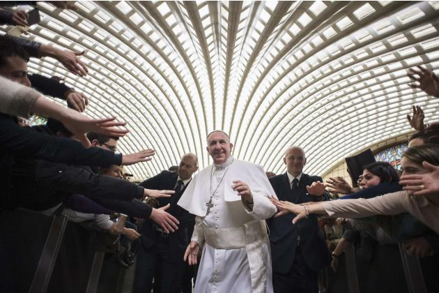 Pope Francis arrives to lead a special audience with faithful from Cassano alpo Jonio diocese at the Vatican