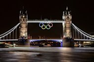 Tower Bridge adorned with the Olympic Rings is seen on late July 25, two days before the start of the London 2012 Olympic Games. An expectant London is preparing to launch the greatest sporting show on earth with excitement reaching fever pitch hours ahead of the opening ceremony